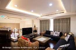 二樓起居室:  客廳 by Hi+Design/Interior.Architecture. 寰邑空間設計