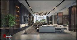 Ciputra Villa:  Phòng khách by Công ty CP Kiến trúc và Đầu tư Xây dựng Hà Nội A&More