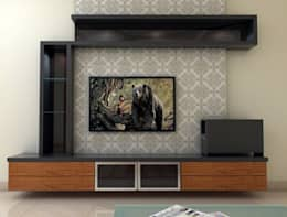 TV Unit: minimalistic Living room by FORTUNE DECOR