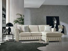 Divano ad angolo in pelle bianca stile classico Teseo, made in Italy: Soggiorno in stile in stile Classico di Viadurini