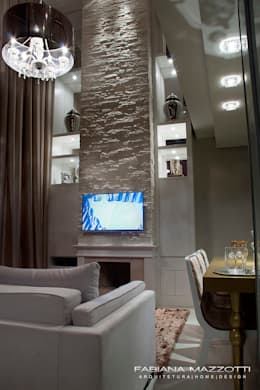 Salas / recibidores de estilo moderno por Fabiana Mazzotti Arquitetura e Interiores