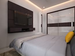 Master bedroom tv unit: modern Bedroom by The inside stories - by Minal