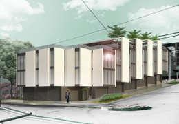 Departamentos en Barrio Gamma: Dormitorios de estilo moderno por Proa Arquitectura