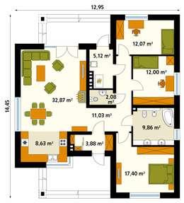 Rzut parteru projektu domu Dedal: styl , w kategorii Ściany zaprojektowany przez Biuro Projektów MTM Styl - domywstylu.pl