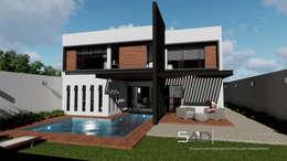 Fachada Posterior: Casas de estilo moderno por Studio Arch'D Arquitectos