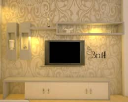 Residential-3BHK-2400sft: modern Living room by BNH DESIGNERS