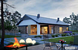 Projekt domu Daniel II G1 z wnętrzem pełnym słońca i ciepła : styl nowoczesne, w kategorii Domy zaprojektowany przez Pracownia Projektowa ARCHIPELAG