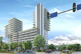 Fachada de conjunto La Loma: Casas de estilo moderno por TaAG Arquitectura
