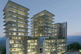 Fachada de noche Conjunto La Loma : Casas de estilo moderno por TaAG Arquitectura