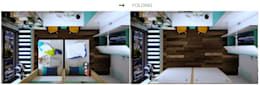 Phòng ngủ 2 cháu bé sinh đôi với giường gấp:   by Công ty TNHH Thiết Kế và Ứng Dụng QBEST