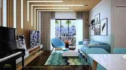 Phòng khách ban ngày:   by Công ty TNHH Thiết Kế và Ứng Dụng QBEST
