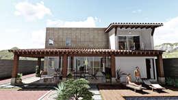 Fachada Posterior: Casas de estilo mediterraneo por IAD Arqutiectura