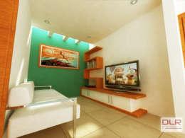 SALA DE TV: Salas multimedia de estilo minimalista por DLR ARQUITECTURA/ DLR DISEÑO EN MADERA