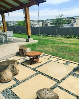 Simple fire pit:  Patios by Acton Gardens