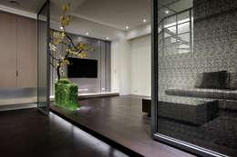 視聽室也是地下室的入口玄關,鐵件滑門搭配佈置變化了空間層次感以及趣味性:  影音室 by 夏川空間設計工作室