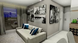 Apartamento compacto para jovem casal moderno: Salas de estar modernas por Studio²