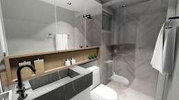 Apartamento compacto para jovem casal moderno: Banheiros modernos por Studio²