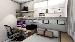 Apartamento compacto para jovem casal moderno: Escritórios  por Studio²