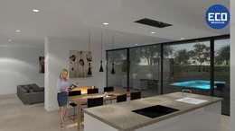 Woonkamer/keuken:   door ECO architecten