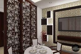 Breakfst Table in Living Room & Wooden Partition:   by La Studio Embellissement