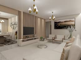 غرفة المعيشة تنفيذ Marcela Matos Arquitetura e Interiores