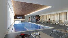 Alberca: Albercas de estilo moderno por MG estudio de arquitectura