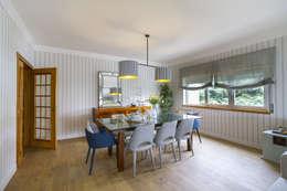 Sala e Varanda em Paço de Arcos: Salas de jantar tropicais por Sizz Design