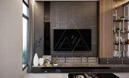 บ้านพักกาญจนบุรี:  ห้องนั่งเล่น by pyh's interior design studio