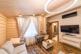 Дом в Завидове из клееного бруса: Гостиная в . Автор – GOOD WOOD