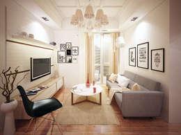 Living room design:  Ruang Keluarga by aidecore