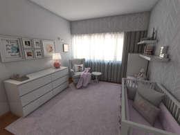 Apartamento AL30.4 - Quarto de bebé - simulação 3D: Quarto de crianças  por The Spacealist - Arquitectura e Interiores