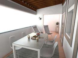 Apartamento BA14.3 - Varanda - simulação 3D: Varanda, marquise e terraço  por The Spacealist - Arquitectura e Interiores