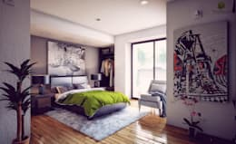 interiores- recámara: Recámaras de estilo moderno por 3h arquitectos