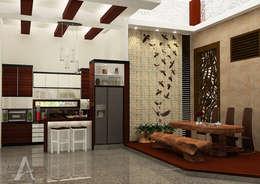 Rumah Bergaya Etnik yang Dikemas Lebih Modern:  Ruang Makan by AIRE INTERIOR