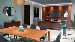 Living Room: Comedores de estilo moderno por Nueve 3/4