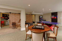 Fire Restoration in Chevy Chase Creates Opportunity for Whole House Renovation: rustic Media room by BOWA - Design Build Experts