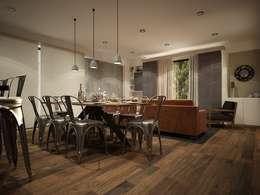 Diseño de área sala-comedor: Comedores de estilo industrial por Zono Interieur