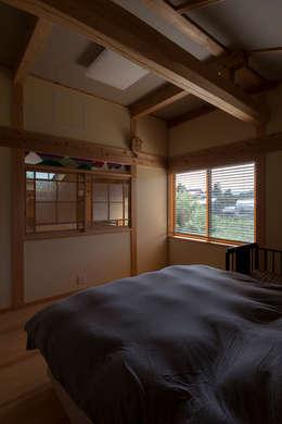 寝室: 安藤建築設計工房が手掛けた寝室です。