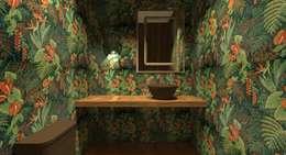 Apartamento Menta: Banheiros ecléticos por Quintal Arquitetura