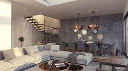 Mat atölye – Kuşadası_Konut_3D Görselleştirme: modern tarz Oturma Odası