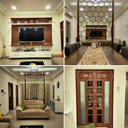 Living Room and Pooja Room: modern Living room by WOODLIFE INTERIOR PRIVATE LTD