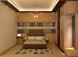Mantri Webcity, Duplex 3 BHK - Mr. Vishal: modern Bedroom by DECOR DREAMS