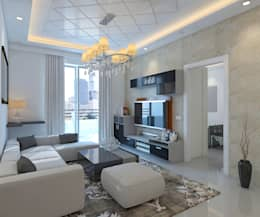 SNN Raj Serenity, 2 BHK - Mr. Deepak: tropical Living room by DECOR DREAMS