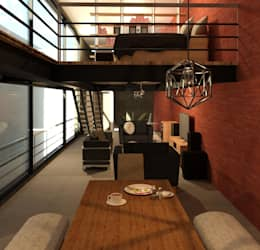 Vista Tapanco: Recámaras de estilo moderno por Perfil Arquitectónico