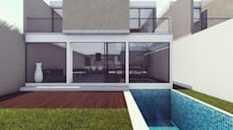 FACHADA POSTERIOR: Casas unifamiliares de estilo  por BOCA ARQUITECTOS