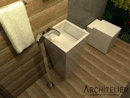 Lavabo Eco: Banheiros rústicos por Architelier Arquitetura e Urbanismo