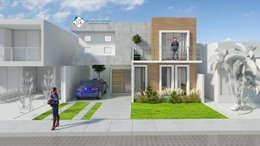 Proyecto, render de fachada: Casas de estilo moderno por ISLAS & SERRANO ARQUITECTOS