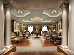 Residential Villa _ New Cairo:  غرفة المعيشة تنفيذ  Axis Architects for architecture and interior design
