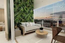 Varanda Gourmet com Jardim Vertical: Jardins modernos por Juliana Zanetti Arquitetura e Interiores