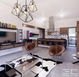 Residencia PC [León, Gto.]: Salas de estilo moderno por 3C Arquitectos S.A. de C.V.